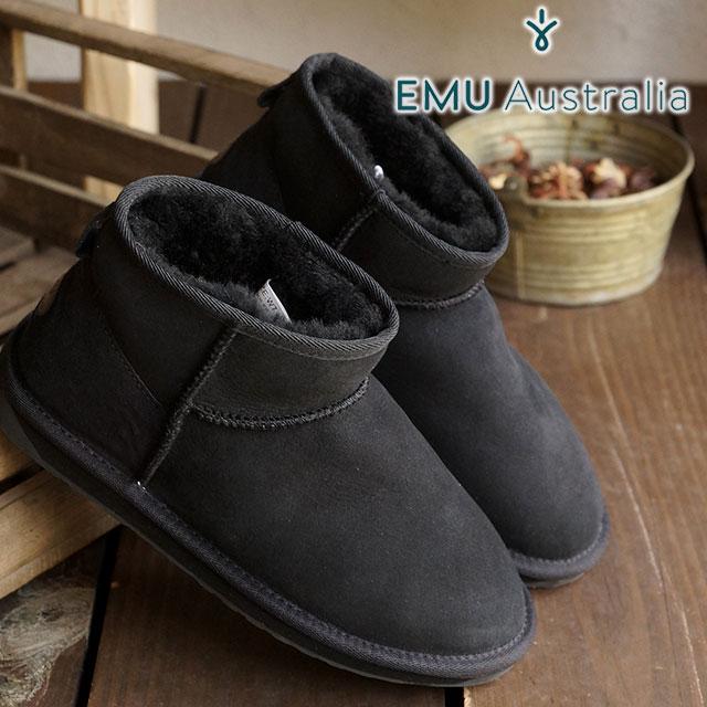 emu エミュー ムートンブーツ STINGER MICRO スティンガー マイクロ (耐水シープスキン) BLACK (W10937 FW15) エミュ ブーツ BOOTS【EUロゴ】 shoetime【コンビニ受取対応商品】