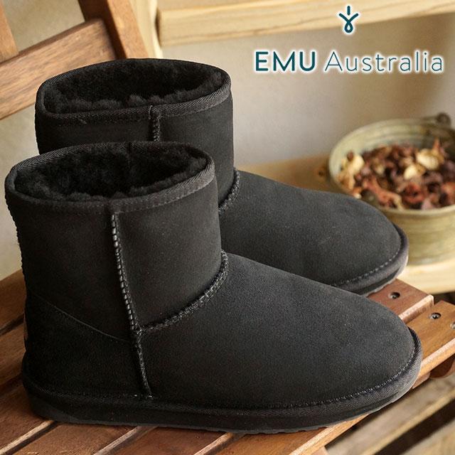 emu エミュー シープスキン ブーツ STINGER MINI スティンガー ミニ BLACK靴 (W10003 FW15)/エミューブーツ 正規品 エミュ BOOTS【EUロゴ】【コンビニ受取対応商品】