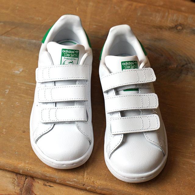 cheap for discount 7491f 3fd7a アディダスオリジナルススタンスミスコンフォートインファント adidas Originals kids Baby Bell black STAN  SMITH CF I running white  running white  green ...