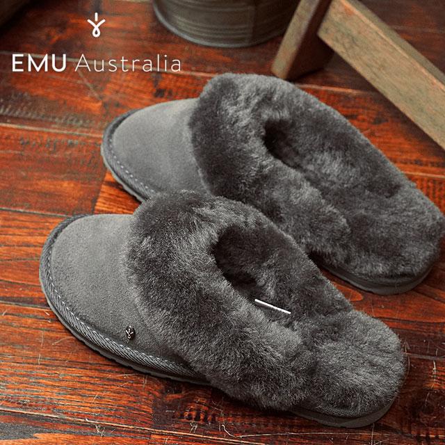 【在庫限り】エミュー ジョリー EMU レディース シープスキン スリッパサンダル 靴 Jolie チャコール (W10015 FW16)【ts】【e】【コンビニ受取対応商品】