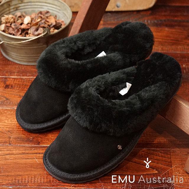 エミュー ジョリー EMU レディース シープスキン スリッパサンダル 靴 Jolie ブラック (W10015 FW16)【コンビニ受取対応商品】