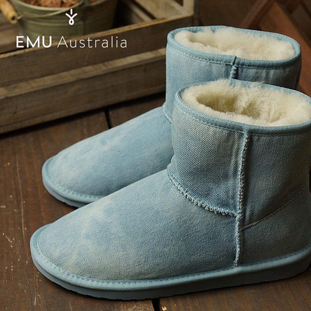エミュー スティンガー デニム ミニ EMU レディース ムートンブーツ Stinger Denim Mini ライトデニム 靴 (W11377 FW16)【ts】【e】