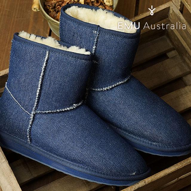 エミュー スティンガー デニム ミニ EMU レディース ムートンブーツ Stinger Denim Mini インディゴデニム 靴 (W11377 FW16)【ts】【e】