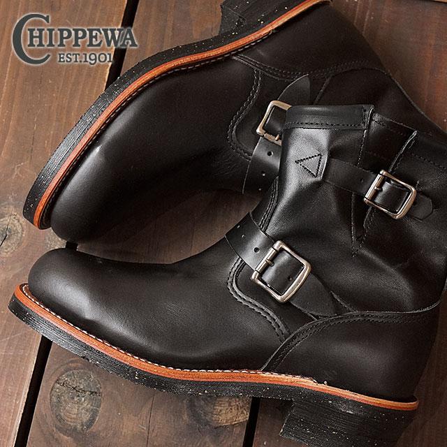 チペワ 7インチ オリジナル スチールトゥ エンジニアブーツ CHIPPEWA メンズ 革靴 7-inch original steel toe enginner boots Eワイズ ブラック (CP1901M10)【コンビニ受取対応商品】