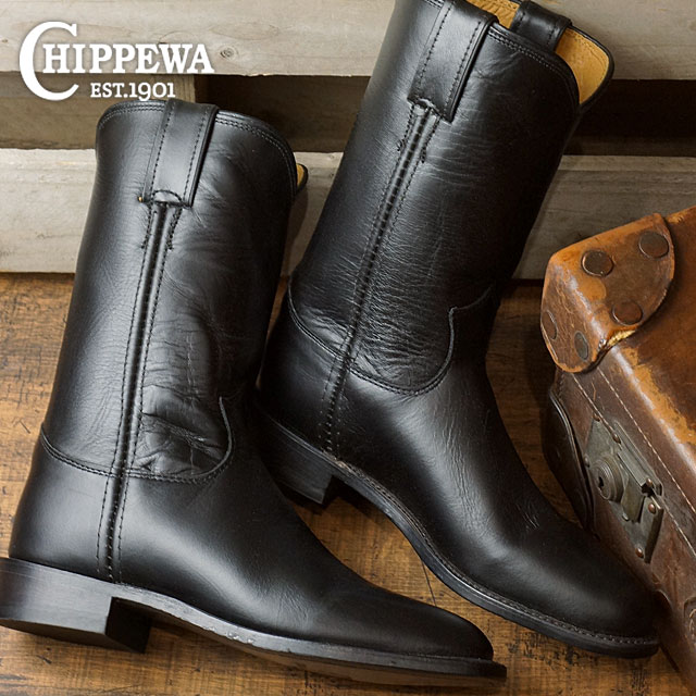 2e09707d52c チペワウーマンズ 10 inches loper boots CHIPPEWA Lady's leather shoes womens 10-inch  roper boots M Wise black (CP1901W67)