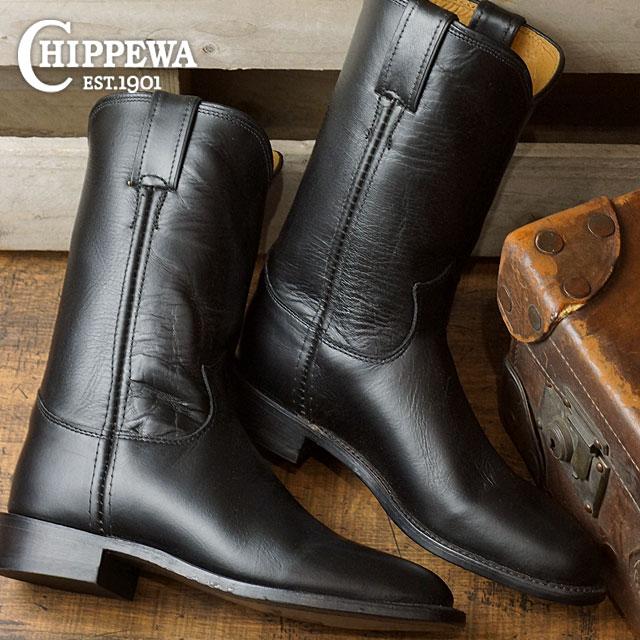 チペワ ウーマンズ 10インチ ローパーブーツ CHIPPEWA レディース 革靴 womens 10-inch roper boots Mワイズ ブラック (CP1901W67)【コンビニ受取対応商品】