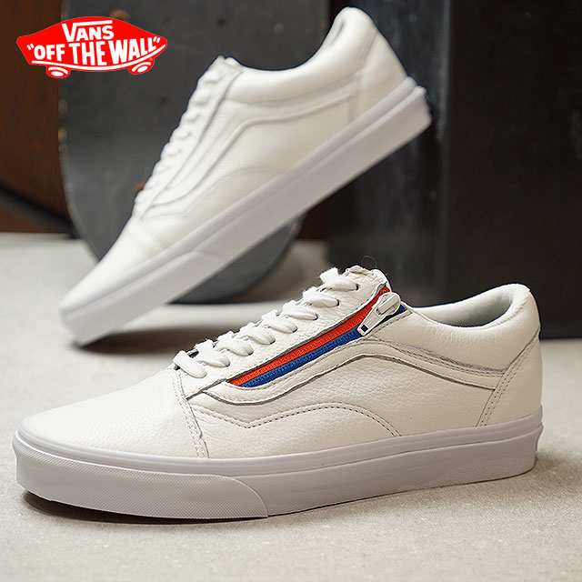 a5525d0a36 VANS vans sneakers men OLD SKOOL ZIP LEATHER old school zip leather TRUE  WHITE (VN0A3493OU9 FW17)