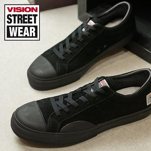 【月間優良ショップ】VISION STREET WEAR ヴィジョン ストリートウェア メンズ スニーカー 靴 SUEDE LO ビジョン スケートシューズ スエード ローカット ブラック (VSW-7352)【コンビニ受取対応商品】