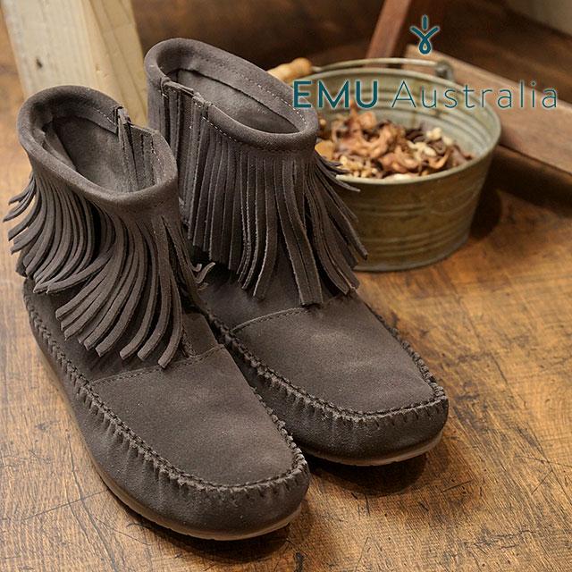 【在庫限り】emu エミュー フリンジ ショートブーツ Avoca アボカ CHOCOLATE 靴 (W11511 FW17)【e】【ts】【コンビニ受取対応商品】