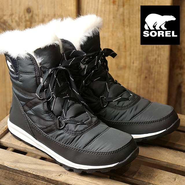 87ec0a108 SOREL Sorrel snow boot Lady's WHITNEY SHORT LACE wit knee short race BLACK  (NL2776- ...
