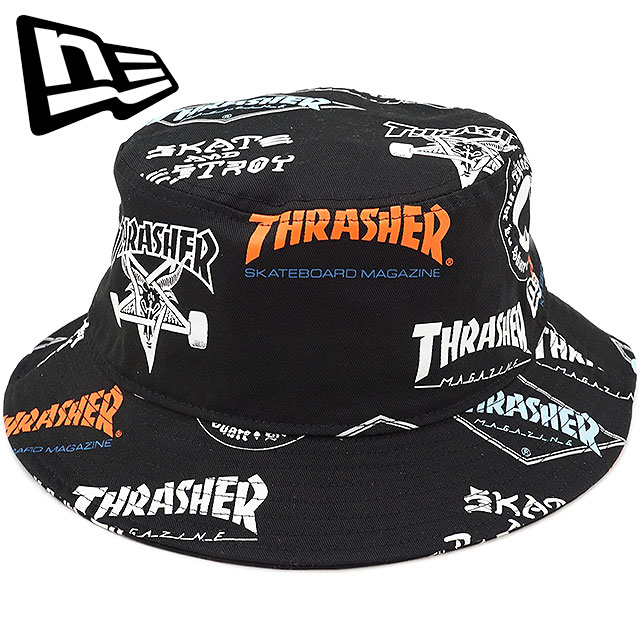 NEWERA new gills cap New Era THRASHER LOGO slasher logo BUCKET01 pail hat  hat print  S white (11521877 FW17) be10cd43d83e