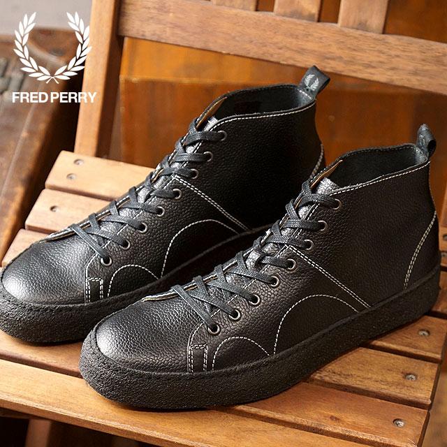 【即納】FRED PERRY × GEORGE COX フレッドペリー × ジョージコックス クレッパー ミッド レザー CREEPER MID LEATHER スニーカー 靴 メンズ・レディース BLACK (B8289-102 FW18)【コンビニ受取対応商品】