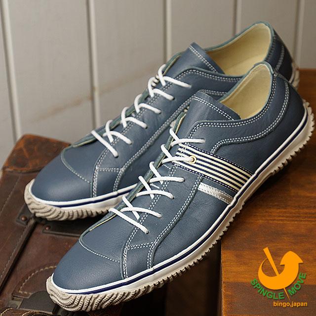 【即納】【返品送料無料】スピングルムーブ SPINGLE MOVE SPM-168 スムースレザー スニーカー メンズ レディース 靴 シューズ Blue Gray (SPM168-106 FW18)【コンビニ受取対応商品】