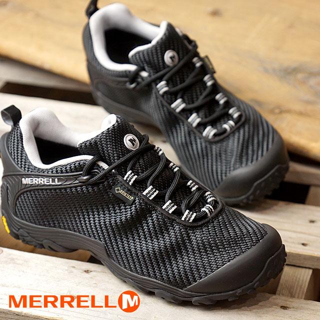 メレル MERRELL レディース カメレオン7 ストーム ゴアテックス W CHAMELEON7 STORM GORE-TEX 完全防水 アウトドア トレッキングシューズ 靴 BLACK/BLACK (38604 FW18)