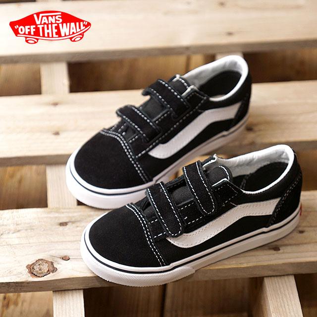 VANS station wagons KIDS kids OLD SKOOL V old school Velcro vans sneakers shoes BLACK (VN000D3YBLK FW18)