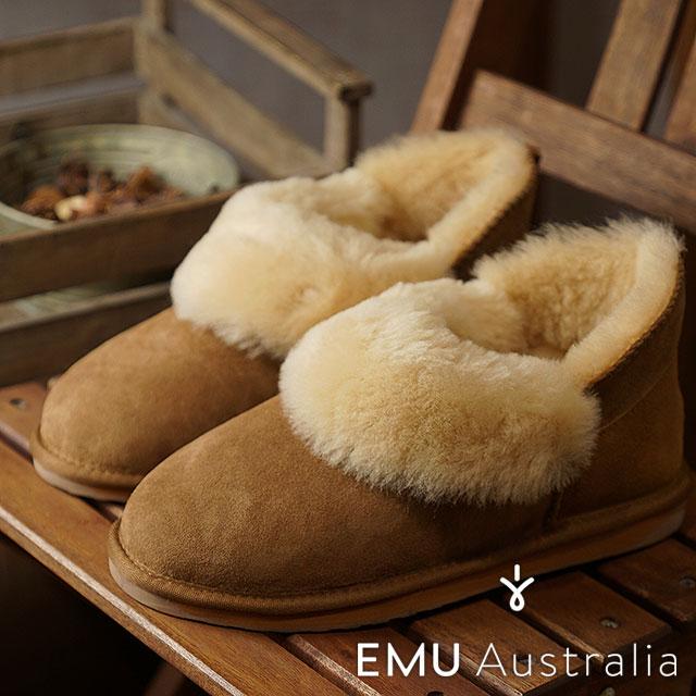 【即納】【日本別注】エミュー EMU シープスキン ショートブーツ バイア Baia レディース ムートン 靴 Chestnut (W11695 FW18)【コンビニ受取対応商品】