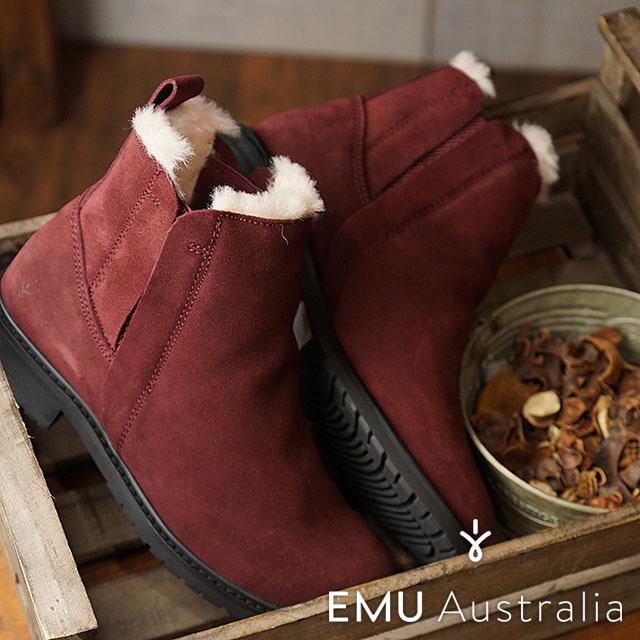 エミュー EMU メリノウールライニング サイドゴアブーツ 防水レザー パイオニア Pioneer レディース 靴 Red Wine (W11292 FW18)【コンビニ受取対応商品】