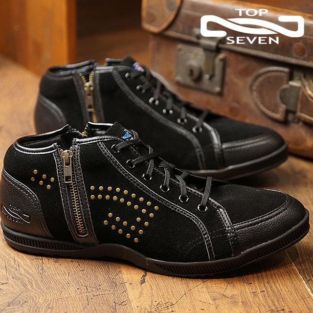 【即納】トップセブン TOP SEVEN TS-2103NY ダブルジップ スタッズ スエードレザー スニーカー BLACK メンズ 靴 (FW18)【コンビニ受取対応商品】