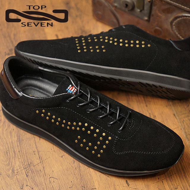 【即納】トップセブン TOP SEVEN TS-7703NY スタッズ スエードレザー スニーカー BLACK メンズ 靴 (FW18)【コンビニ受取対応商品】