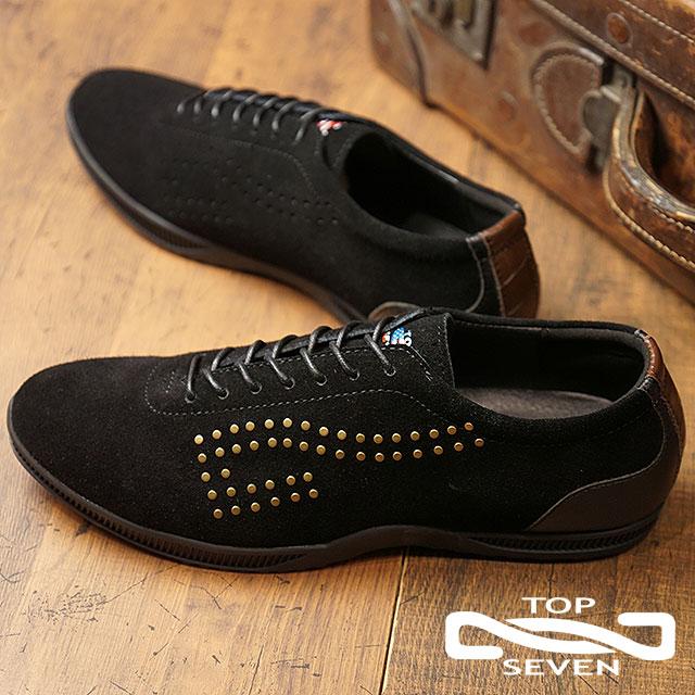 【即納】トップセブン TOP SEVEN TS-260NY スタッズ スエードレザー スニーカー BLACK メンズ 靴 (FW18)【コンビニ受取対応商品】