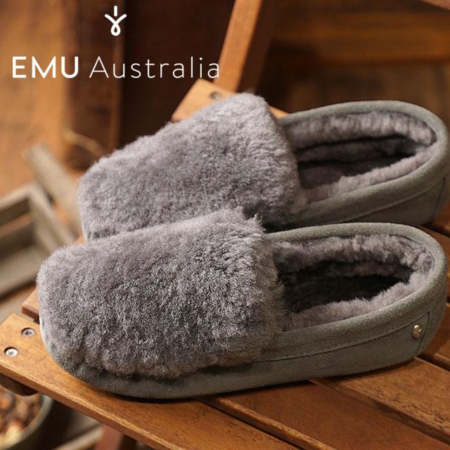 エミュー emu ケアンズ リバース ファー Cairns Reverse Fur レディース シープスキンファー スエードモカシン 靴 Charcoal (W11705 FW18)【コンビニ受取対応商品】