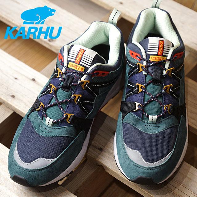 【即納】KARHU カルフ フュージョン2.0 FUSION 2.0 メンズ グリーン/ホワイトゲーブル/ナイトスカイ 靴 (KH804040 FW18)【コンビニ受取対応商品】