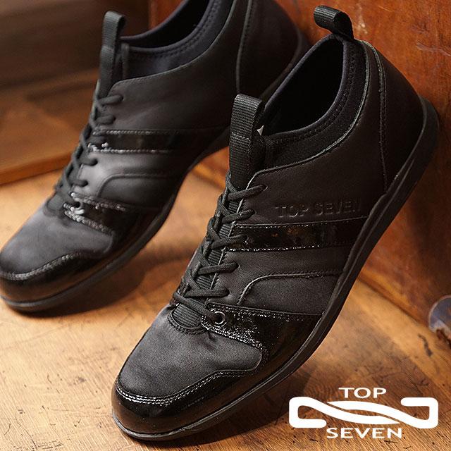 トップセブン TOP SEVEN TS-8805 ローカット レザー スニーカー BLACK メンズ 靴 (FW18)【コンビニ受取対応商品】