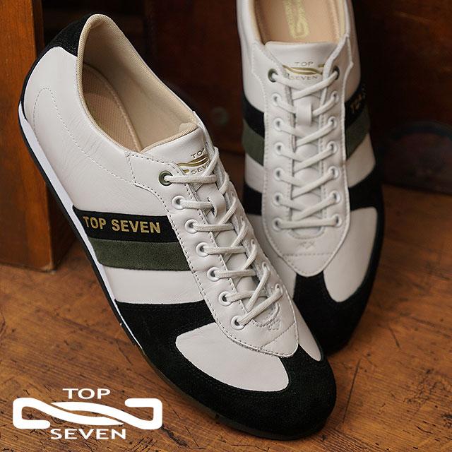 トップセブン TOP SEVEN TS-8804 ローカット レザー スニーカー BLK/KHA メンズ 靴 (FW18)【コンビニ受取対応商品】
