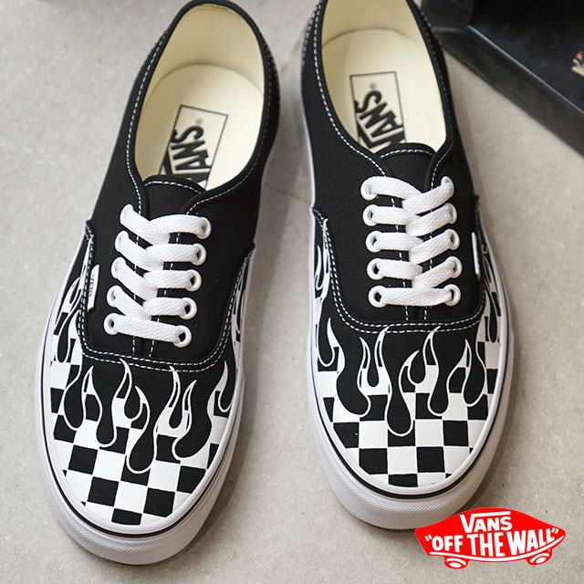 Vans VANS authentic AUTHENTIC CHECKER FLAME men gap Dis sneakers shoes BLACK/T.WHITE (VN0A38EMRX8 HO18)