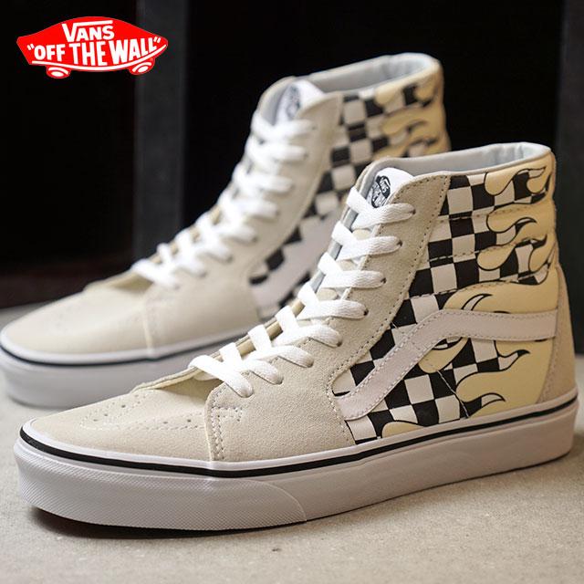 Vans VANS skating high SK8-HI CHECKER FLAME men gap Dis sneakers shoes C.  WHITE/T.WHITE (VN0A38GERX7 HO18)