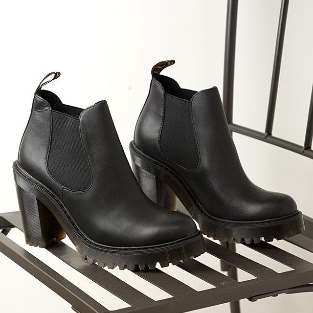 【月間優良ショップ】ドクターマーチン Dr.Martens レディース チェルシーブーツ ハーストン HURSTONE SENDAL サイドゴア ハイヒールブーツ 靴 BLACK ブラック系 (23931001 FW19)
