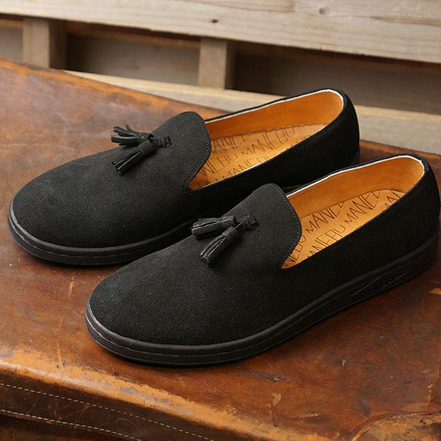 マネブ MANEBU メンズ プラン スエード PRAN SUEDE スリッポン ローファー 靴 BLACK ブラック系 (MNB-033S FW19)【ts】
