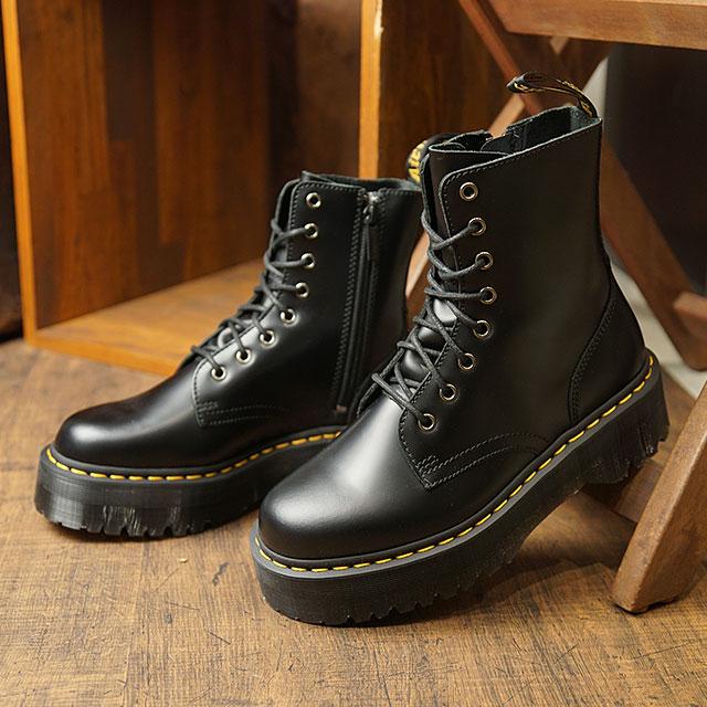 ドクターマーチン Dr.Martens 8ホールブーツ ジェードン サイドジップ付き JADON 8 EYE BOOT メンズ レディース 厚底 ハイカットカット BLACK ブラック系 (15265001 FW19)