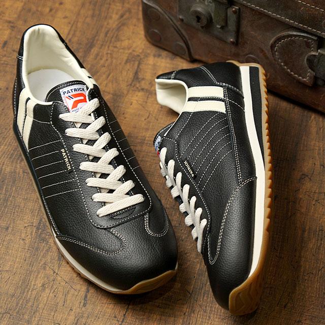 【返品送料無料】【ノベルティプレゼント】パトリック PATRICK スニーカー MARATHON-L マラソン・レザー メンズ・レディース 日本製 靴 BLACK ブラック 黒 (98701)