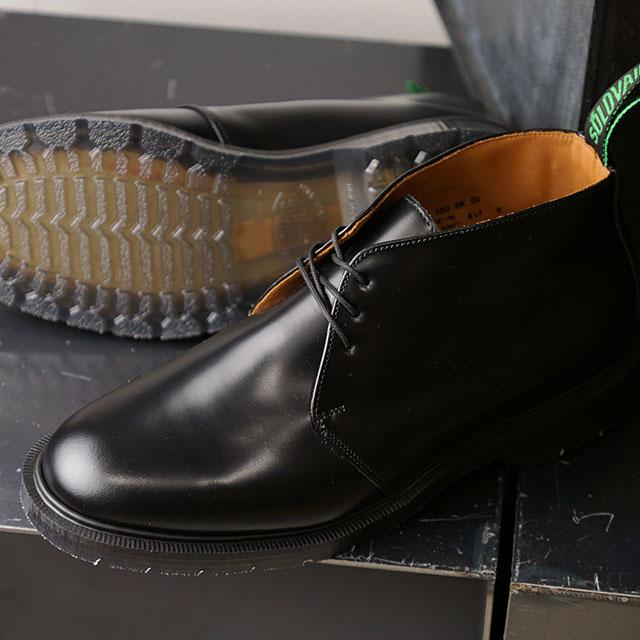 【月間優良ショップ】ソロヴェアー SOLOVAIR イギリス製 3アイレット チャッカブーツ 3EYE CHUKKA BOOT (31070 FW19) メンズ MADE IN ENGLAND ビジネス カジュアル BLACK ブラック系【ts】【e】