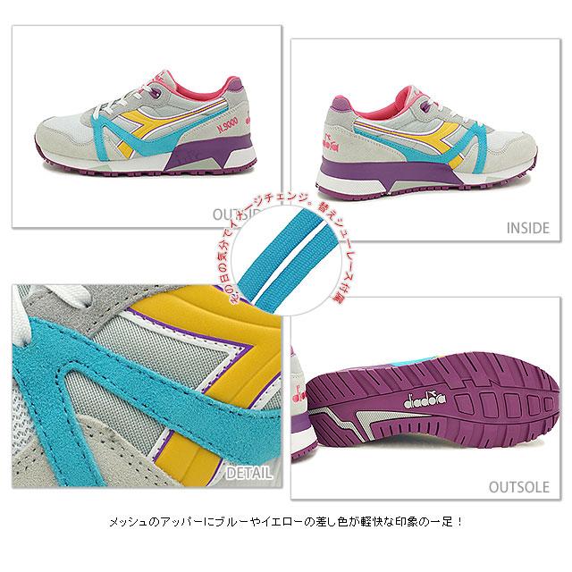 DIADORA 迪尔德丽女式运动鞋复古跑鞋 N9000 NYL C5749 月亮灰色/黄色水仙花 (160827 SU15)