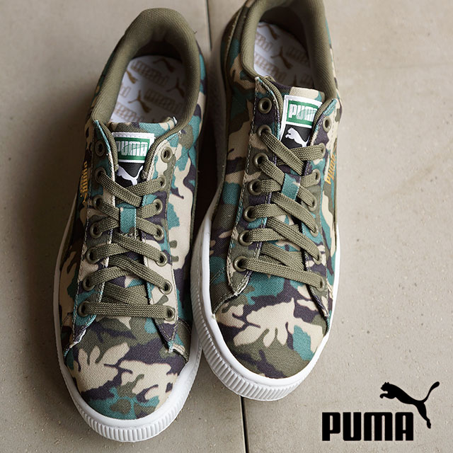f74dab7d6396c PUMA PUMA sneakers mens Womens CANVAS CAMO BASKET baskets canvas duck Camo  green (358630- ...