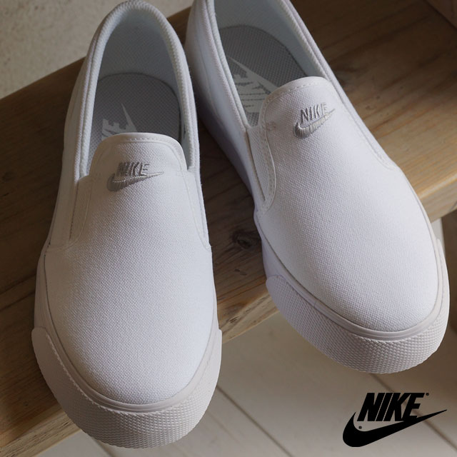 5a7d0bc61fa7 NIKE Nike Lady s sneakers shoes WMNS TOKI SLIP CANVAS women Toki slip  canvas white   metallic platinum (724