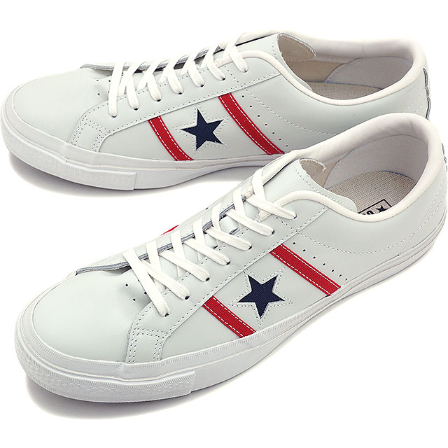CONVERSE converse men's women's sneaker STAR & BARS LEATHER & Byrds leather white / red / Navy 32340300 SS16