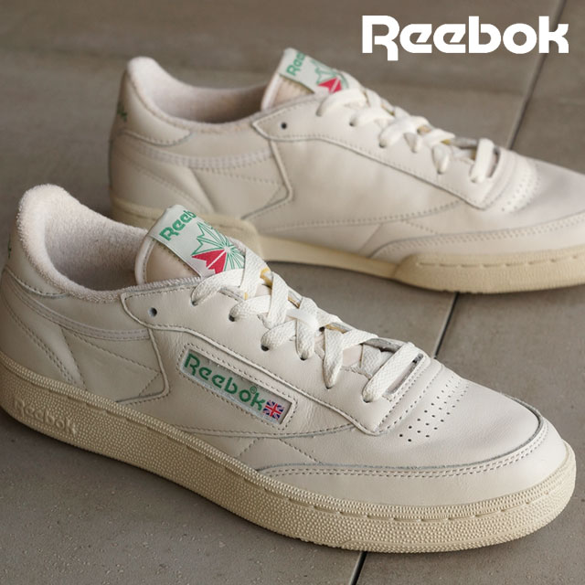 8ab692cb2bc0 Reebok classical music men gap Dis sneakers club champion 85 vintage Reebok  CLASSIC CLUB C 85 VINTAGE CHALK PAPERWHITE GLEN GREEN EXCLINT RED (V67899  SS16) ...