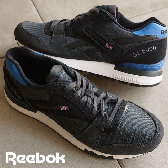 Reebok classics men's women's sneakers GL6000 athletic Reebok CLASSIC GL  6000 ATHLETIC gravel / black / blue sports / / white (V67463 SS16)
