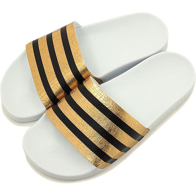 阿迪达斯原件 adiliette 女性黄金遇到、 运行白色 / 运行白色淋浴凉鞋阿迪达斯原件 ADILETTE W S78860 SS16