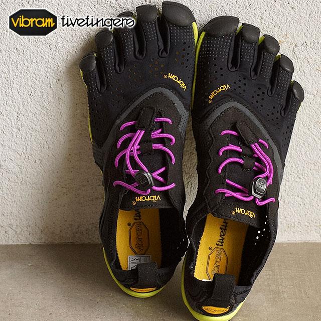 【即納】Vibram FiveFingers ビブラムファイブフィンガーズ レディース V-Run Black/Yellow/Purple ビブラム ファイブフィンガーズ 5本指シューズ ベアフット ウィメンズ 靴 (16W3105)