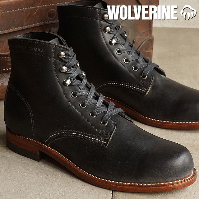 8ae4e6c5cfd 1000 Wolverene 1,000 miles work boots WOLVERINE Wolverene men MILE BLACK  shoes (W05300)
