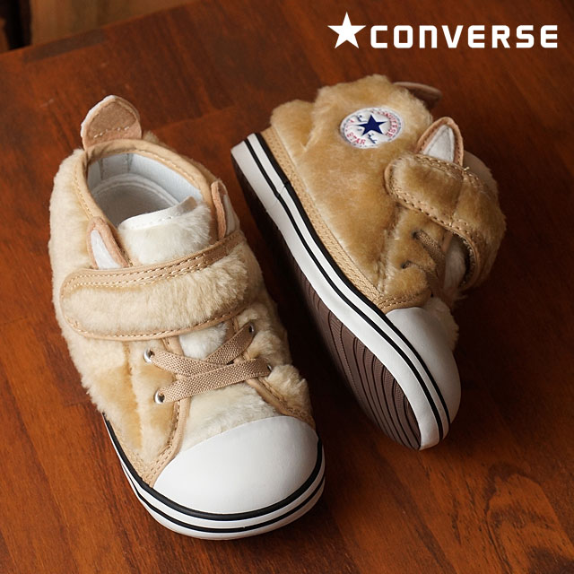 dc7ea11a5b20 Converse baby all-stars N animal fur Velcro -1 CONVERSE kids in fan toss  knee car first shoes ALL STAR N AMFUR V-1 brown Fox (32711979 HO16) shoetime