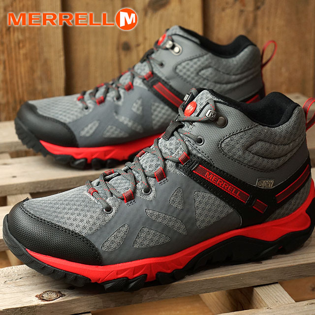 MERRELL mererumenzu MENS OUTRIGHT EDGE MID WATERPROOF出界灯边缘中间防水CASTLE ROCK/FIERY RED(342255C SS17)