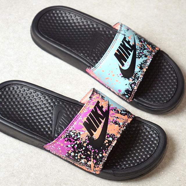 bf71be7ce419 NIKE Nike Lady s slide sandal WMNS BENASSI JDI PRINT ウィメンズベナッシ JDI print  black  S グロウ  F pink (618
