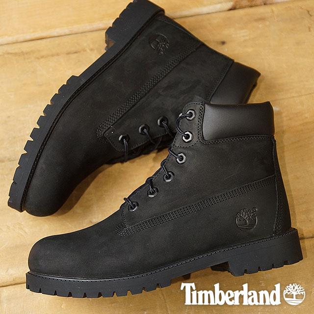 【在庫限り】Timberland ティンバーランド レディース対応 ジュニア規格 6inch Premium WaterProof Boot 6インチ プレミアム ウォータープルーフ ブーツ ブラックヌバック 靴 (12907 SS18)【e】【ts】【コンビニ受取対応商品】