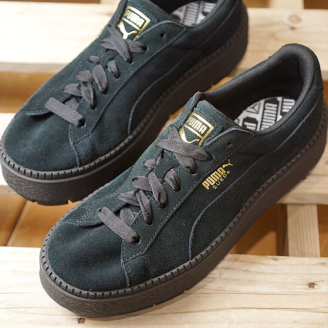 PUMA Puma sneakers Lady s SUEDE PLATFORM TRACE WMNS suede cloth platform  trace women black   black (365 69786d62c