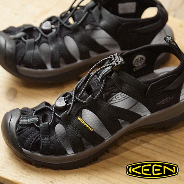 【サイズ交換無料】KEEN キーン サンダル 靴 レディース W WHISPER ウィスパー Black/Magnet (1018227 SS18)